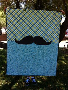 Look what Auntie Meesh cooked up for us for Austin's first birthday!!!! Love love love!!!!! Mustache blanket for Austin by Watch Meesh Run, via Flickr