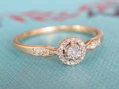 Vintage Engagement Ring, Art Deco Diamond Cluster Ring, 9k Yellow and White Gold Wedding Band Ring, Halo Diamond Ring, Promise Proposal Ring on Etsy, $360.00