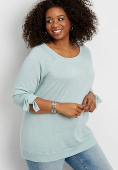 22022d52612 Plus size tie sleeve sweatshirt
