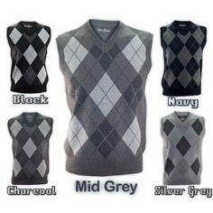 New Mens Diamond Sleeveless Jumper Crew Neck Pullover M - 2XL Sweater Top