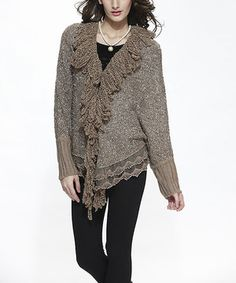 Taupe Lace Wool-Blend Open Cardigan - Women by Simply Couture #zulily #zulilyfinds