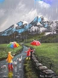 quenalbertini: Two Ducks Down The Lane by Pete Rumney Walking In The Rain, Singing In The Rain, Rain Painting, Different Kinds Of Art, Umbrella Art, Prophetic Art, Art Oil, Rock Art, Cute Art