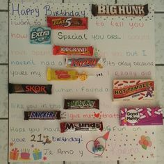 Boyfriends birthday card #candy #birthday #candycard #diy