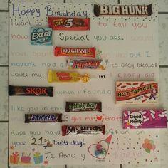Boyfriends birthday card #candy #birthday #candycard #diy
