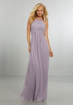 Style ONAEZ Chiffon Bridesmaids Dress with Draped Bodice and Keyhole Back Draped Halter Chiffon Gown with High Neckline and Keyhole Back, Accented with a Crystal Button and Back Zipper. View Chiffon Swatch Card for Color Options. Shown in French Lilac. Mori Lee Bridesmaid Dresses, Bridal Dresses, Wedding Gowns, Prom Dresses, Wedding Bridesmaids, Dressy Dresses, Formal Dress, Evening Dresses, French Lilac