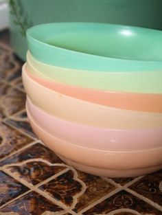 Plastic cereal bowls to match the plastic cups - still going strong though 40-50 years on, you can't fault Tupperware.