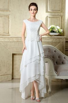 113302657fb A-line Scoop Neck Ankle-length Chiffon Wedding Dress With Lace ...
