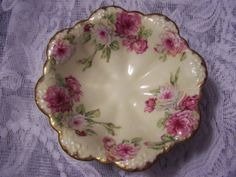 Limoges Scalloped Footed Bowl Gorgeous Pink White Cabbage Roses