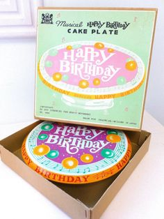 Tin Musical Happy Birthday Cake Plate Chadwick Miller by tbmum, $48.00