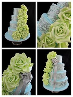 gum paste roses wedding cake Inspired by Michelle Cake Designs