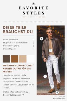 Erfahre welche Teile dazu passen! Casual Chic Männer Outfit. Eleganter für Herren Jeanshose, Strickpullover Lederjacke und Slipper. Schicker Casual Look für die Freizeit. Outfits für Männer mit passenden Teilen bei Favorite Styles. #favoritestyles #mode #fashion #outfit #männer #herren #style #stil #männermode #herrenmode #mensoutfit #mensfashion #ideen #inspiration #casual #chic #elegant #herbst #freizeit #jeans #lederjacke #strickpullover #beige #braun #wei&#