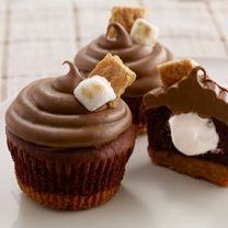 Chocolate Marshmallow S'more Cupcakes - these cupcakes include chocolate cake with marshmallow and graham cracker flavors!  Click here for the Recipe  http://www.duncanhines.com/recipes/cupcakes/dh/chocolate-marshmallow-smore-cupcakes