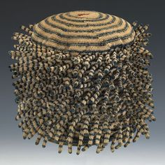 Africa | Man's Prestige hat. Bamun or Bamileke people, Cameroon | 20th century  Cotton, red trade wool, crochet technique