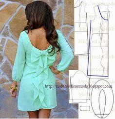 TRANSFORMAÇÃO MOLDE DE VESTIDO Desenhe o molde base frente, costas e manga. Desenhe o decote frente e costas. Desenhe a altura do vestido a seu gosto. Alar