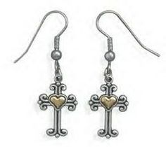 """These brand new cross design french wire earrings are solid genuine .925 sterling silver and they feature a """"Heart of Gold' canter."""
