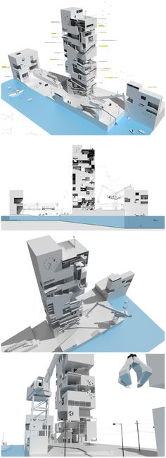 Vertical Fish Market Based on Hemingway's 'The Old Man and the Sea' // ... The proposal is a cluster of sculpted volumes individually shaped according to various programs; being  the most important one, a vertical fish market that is surrounded by interior pedestrian streets with satellite programs such as restaurants, radio station, cinema, bar, café, and fitness center. ...