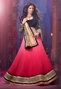 Shaded Pink Faux Georgette Lehenga Choli with Dupatta