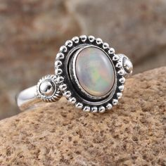 Artisan Crafted Ethiopian Welo Opal Ring in Sterling Silver (Nickel Free)