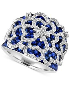 ROYALÉ BLEU EFFY Sapphire (2-5/6 ct. t.w.) and Diamond (3/4 ct. t.w.) Flower Ring in 14k White Gold