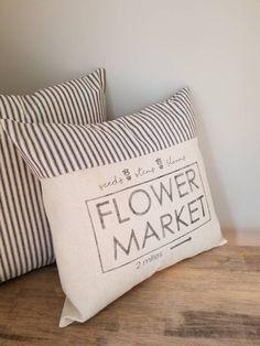 Flower Market Pillow Cover – Farmhouse Pillow Cover – Farmers Market Pillow – Vintage Pillow Cover – Ticking Pillow – Grain Sack Pillow cove – Famous Last Words Blue Throw Pillows, Owl Pillows, Burlap Pillows, Best Pillows For Sleeping, Pillos, U Shaped Pillow, Diy Pillow Covers, Cushion Covers, Grain Sack