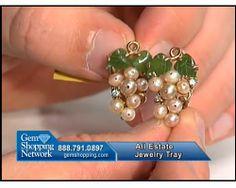 We love these splendid estate Akoya pearl earrings with jade leaves - so beautifully vintage.