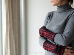 Felted fingerless mittens / wool gloves / felt arm warmers by vart, $38.00