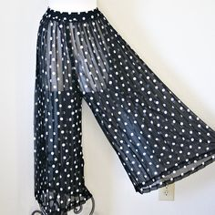 vintage 80s 90s SHEER PLEATED polka dot by PasseNouveauVintage, $22.80