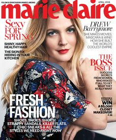 Drew's the Boss and on the cover of April 2016 Marie Claire issue wearing all NEW 2016 #FLOWERBeauty products.