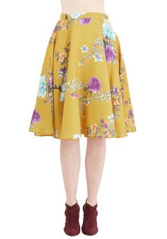 Ikebana for All Skirt in Floral. Shape, line, and form unfold fashionably as you drift past delicate flower displays in this lusciously smooth, mustard A-line skirt from Bea and Dot - a ModCloth exclusive! #yellow #modcloth