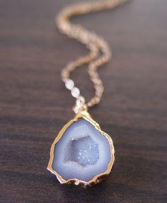 Blue Lace Agate druzy necklace.