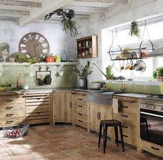 Meuble bas de cuisine avec évier en bois recyclé L 90 cm PAGNOL Kitchen Sink Units, Vintage Kitchen Sink, Kitchen Base Cabinets, Pine Kitchen, Kitchen Corner, Rustic Kitchen, Kitchen Dining, Kitchen Decor, Wood Cabinets