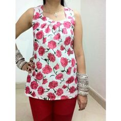 Floral Print White Tunics + 20% off By Gossip Fashion @ shopclues