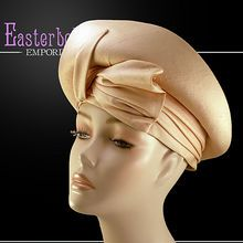 ca 1960's Ultra Chic Dupioni Silk Champagne Colored Adolfo Hat from Easterbelle's Wonderland Emporium on Ruby Lane