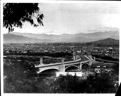 Glendale Road and Hyperion Avenue viaduct :: Los Angeles Examiner Photographs Collection, Usc Library, Atwater Village, University Of Southern California, City Of Angels, Lost City, Digital Image, Old Photos, Paris Skyline, December 7