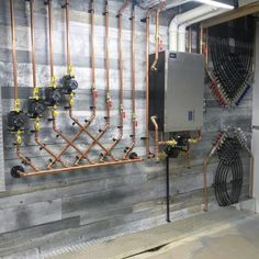 Source: Mechanical Room by Renovation Design, Satisfying Pictures, Mechanical Room, Plumbing Installation, Radiant Floor, Mechanic Jobs, Radiant Heat, Boiler, Heating And Cooling