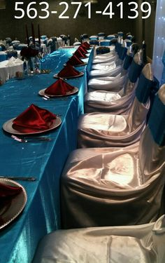 Red and turquoise Head table by Queen of Quinceañeras
