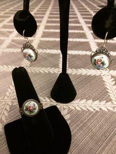 Russian Vintage Finift Jewelry Set