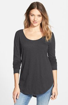 Free shipping and returns on BP. Scoop Neck Long Sleeve Tee at Nordstrom.com. A classically cool tee is updated with a generously scooped neckline, cute high/low hem and fit-perfecting seam centering the back.