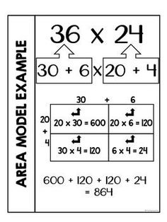 Area Model Multiplication Interactive Notebook by Its a Teacher Life Math Strategies, Math Resources, Math Notebooks, Interactive Notebooks, Math Multiplication, Math Math, Fourth Grade Math, Third Grade, Math Charts