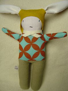 Handmade bunny, love the fabrics and combination of colors
