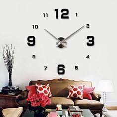 Sonline Art DIY Horloge murale Materiel d'eponge en mousse Noir