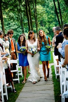The bride being walked down the aisle by her daughters, awww! Photo by Love Life Images. Wedding planned by A. Dominick Events.