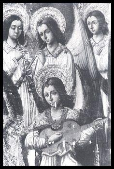 """VIHUELA DE PEÑOLA (= Viola de penola) 1470-80 Valencia Spain detail, """"Virgen con niño y angeles musicos"""", Retablo-Alterpeice, Colegiata de Xativa"""
