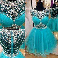 Cute Scoop Neck Illusion Ice Blue Short Prom Dress, Sparkling Princess Crystal Beaded Tulle Prom Dress, Sweet Sleeveless Mini Prom Dress