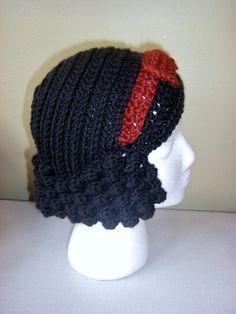 Snow White Crochet Wig Hat Adult Size by StrungOutFiberArts
