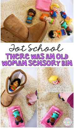 This There Was an Old Woman Who Lived in a Shoe Sensory Bin was so fun to explore and use for retelling during our Nursery Rhyme theme. Perfect for tot school, preschool, or the kindergarten classroom.