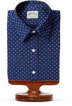 Ralph Lauren RRL Eli Indigo Cotton Dress Shirt 8417d3ab10