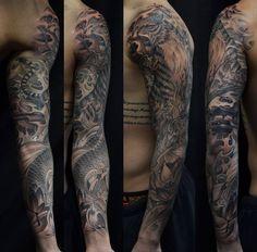 Chronic Ink Tattoo - Toronto Tattoo Tiger and koi fish full sleeve tattoo done by BKS
