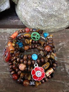 Hippie Peace Chic: Five Wrap Memory Wire Beaded Bracelet on Etsy, $40.00