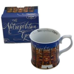 This beautiful porcelain Met Opera mug features a photo of the Metropolitan Opera House at twilight. The opera house, the centerpiece of New York's Lincoln Center, is a masterpiece of mid-century modern design by architect Wallace K. Harrison.  http://www.metoperashop.org/shop/met-opera-mug-11520